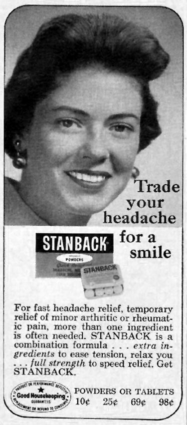 STANBACK ANALGESIC TABLETS AND POWDERS GOOD HOUSEKEEPING 10/01/1965 p. 277