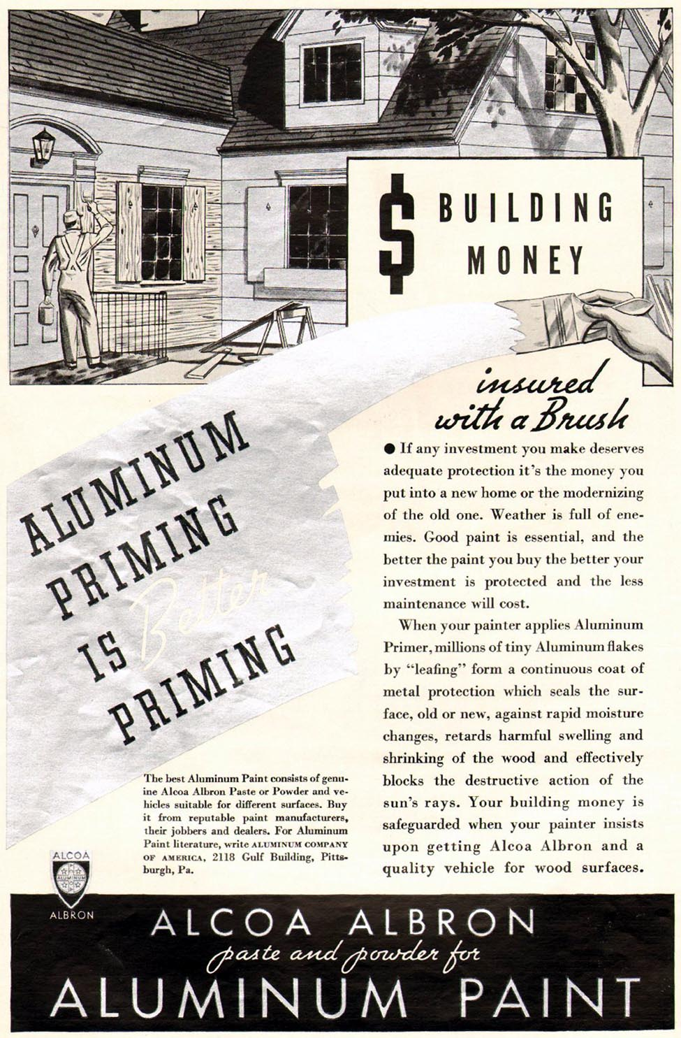 ALCOA ALBRON ALUMINUM PAINT BETTER HOMES AND GARDENS 05/01/1936 p. 110