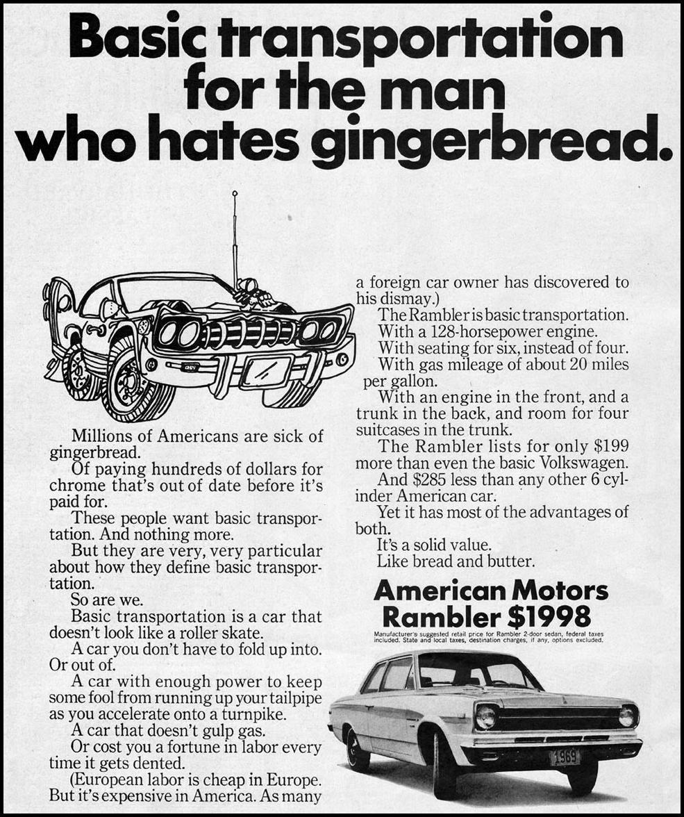 RAMBLER AUTOMOBILES SATURDAY EVENING POST 02/08/1969 p. 10