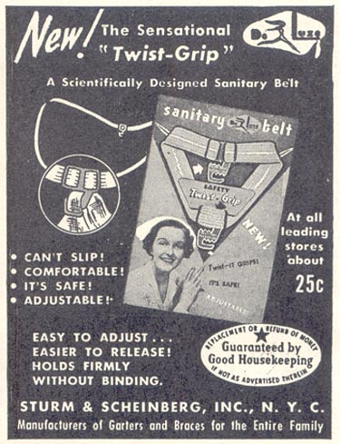 DE LUXE TWIST GRIP SANITARY BELT GOOD HOUSEKEEPING 07/01/1948 p. 214