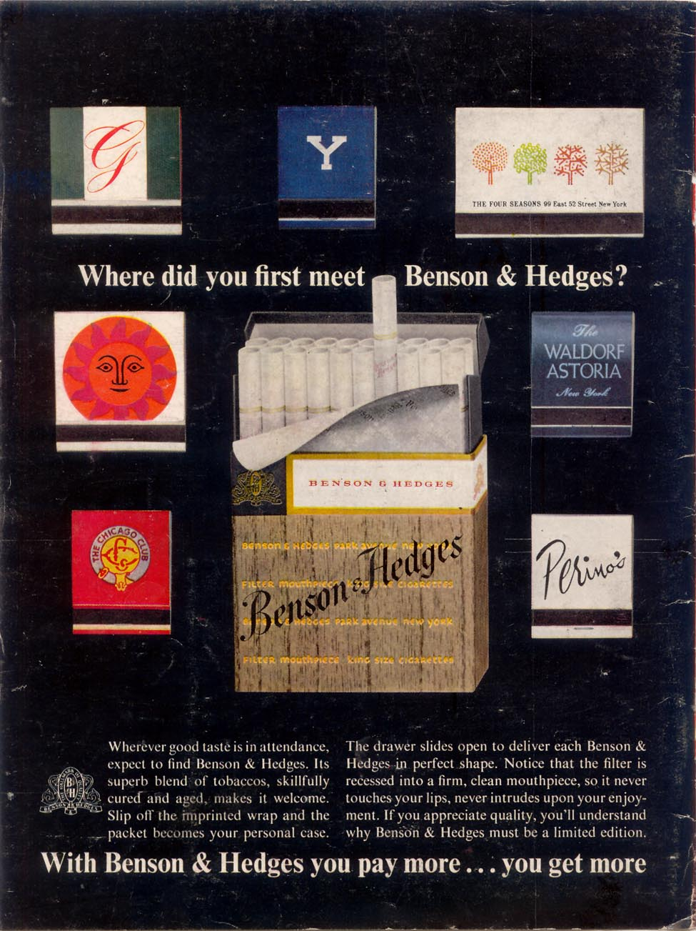 BENSON & HEDGES CIGARETTES TIME 11/17/1961 BACK COVER