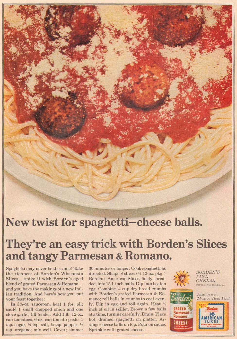 BORDEN'S GRATED PARMESAN-ROMANO CHEESE GOOD HOUSEKEEPING 10/01/1965 p. 29