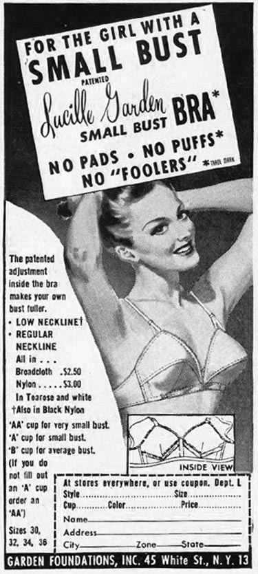 LUCILLE GARDEN SMALL BUST BRA LADIES' HOME JOURNAL 07/01/1949 p. 79