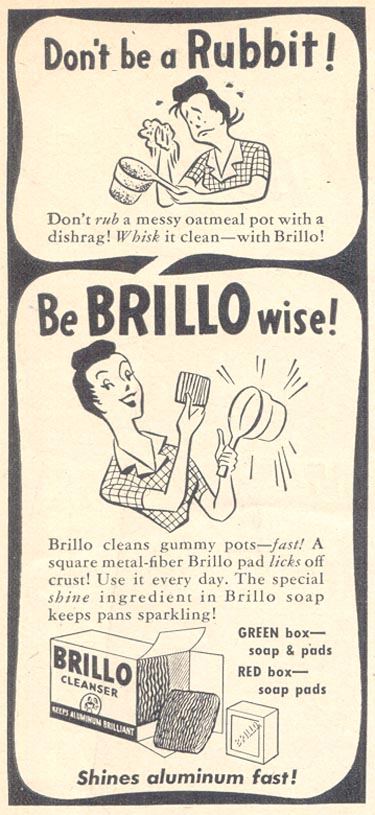 BRILLO SOAP PADS WOMAN'S DAY 02/01/1947 p. 96