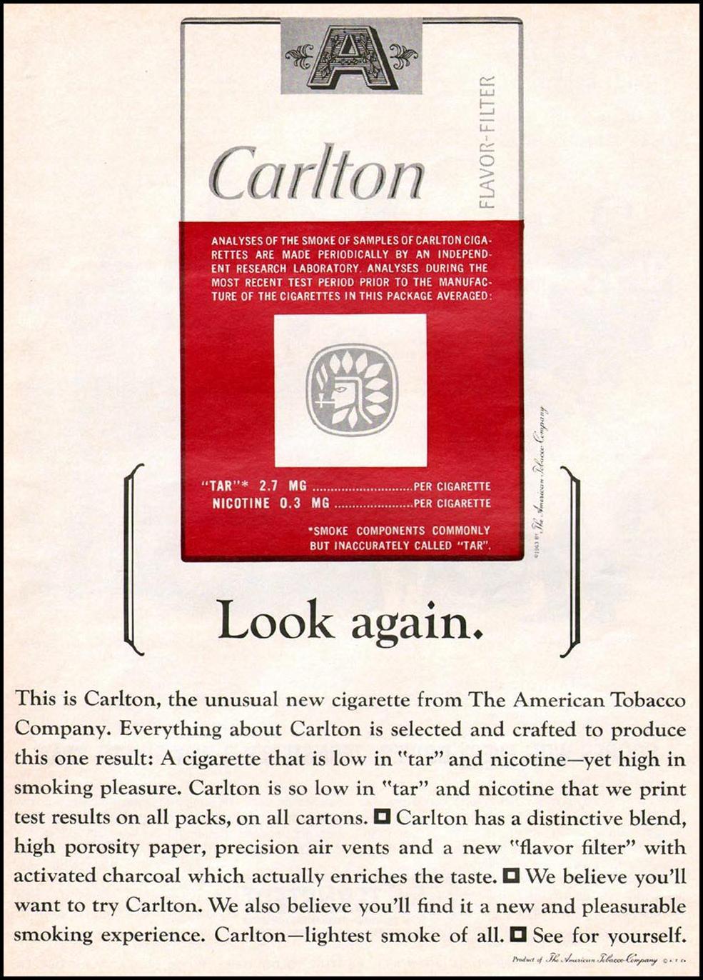 CARLTON CIGARETTES NEWSWEEK 10/12/1964