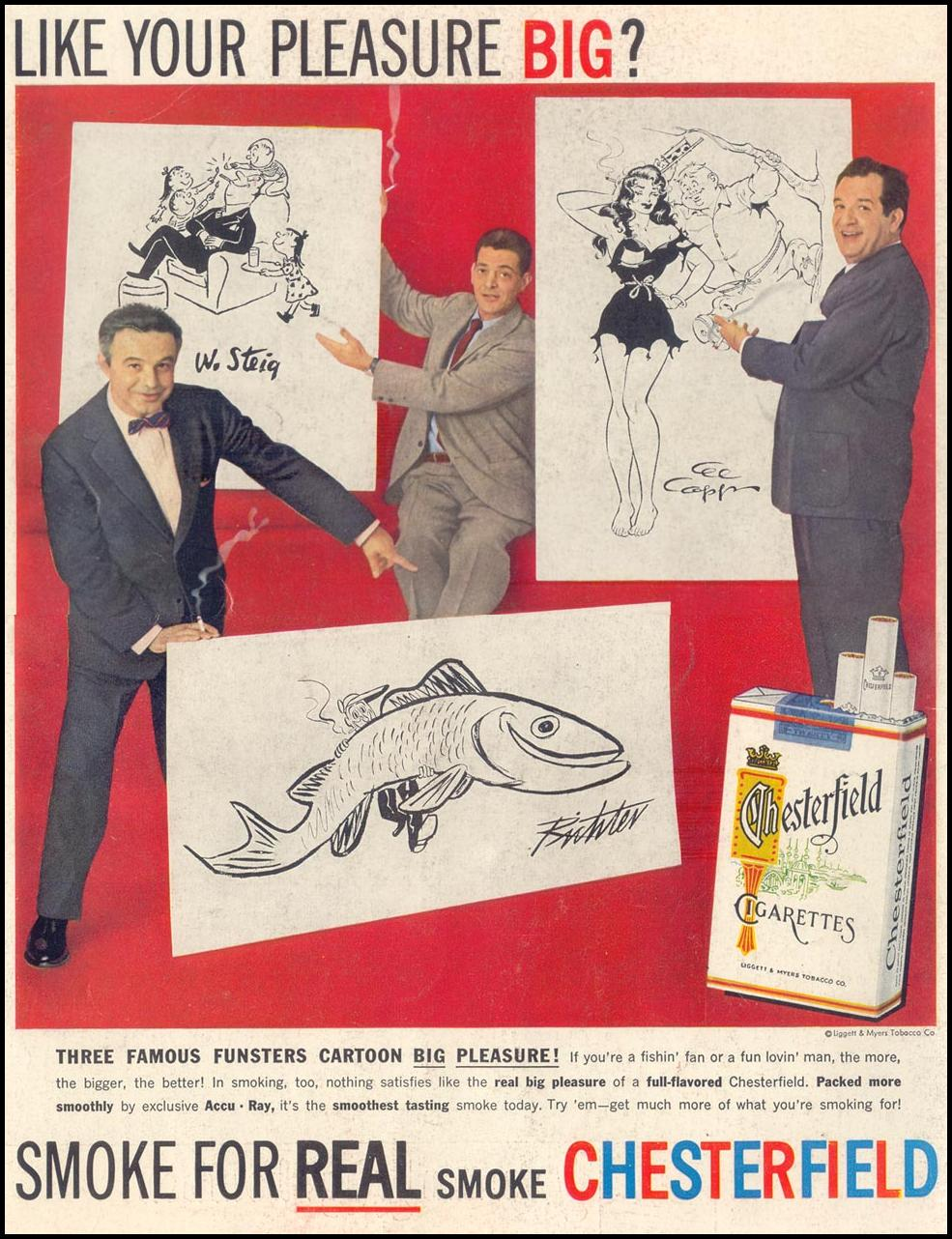 CHESTERFIELD CIGARETTES LIFE 03/18/1957 BACK COVER