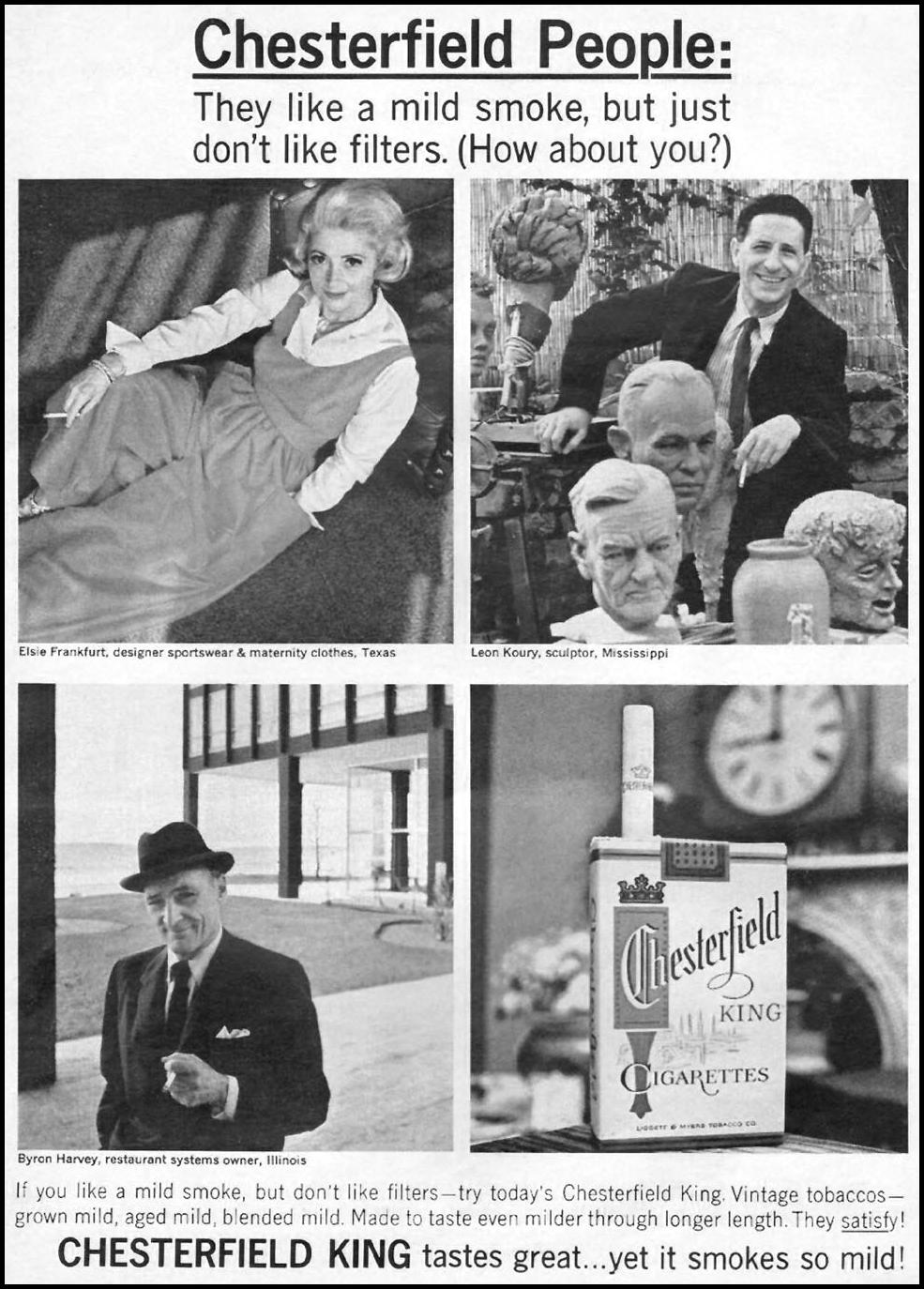 CHESTERFIELD CIGARETTES NEWSWEEK 10/12/1964 p. 1