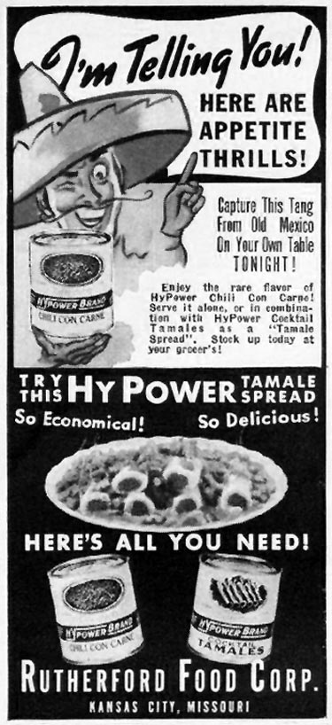HYPOWER BRAND CHILI CON CARNE GOOD HOUSEKEEPING 10/01/1940 p. 46