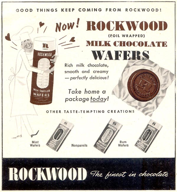 ROCKWOOD CHOCOLATE WAFERS WOMAN'S DAY 02/01/1950 p. 126