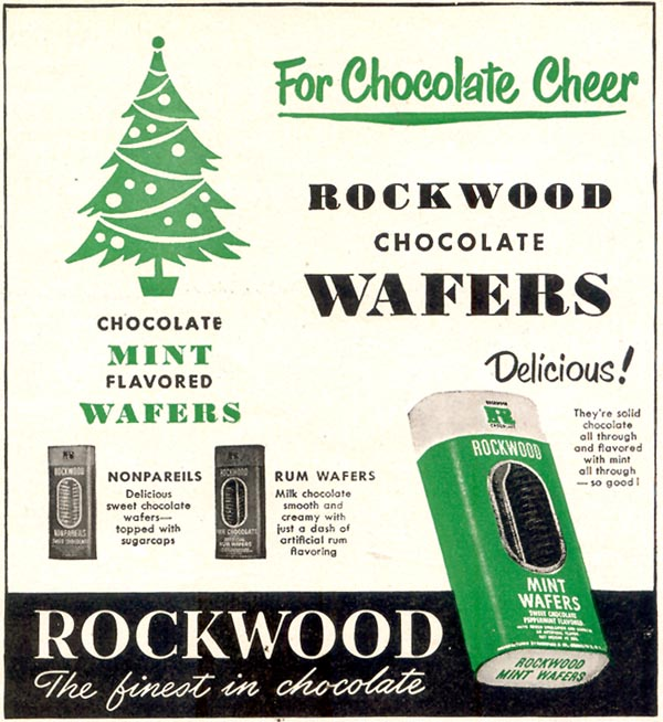 ROCKWOOD CHOCOLATE MINT WAFERS WOMAN'S DAY 12/01/1949 p. 119