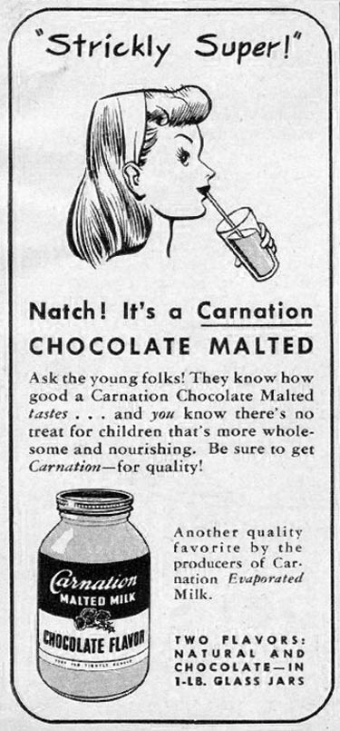 CARNATION MALTED MILK WOMAN'S DAY 06/01/1947 p. 84