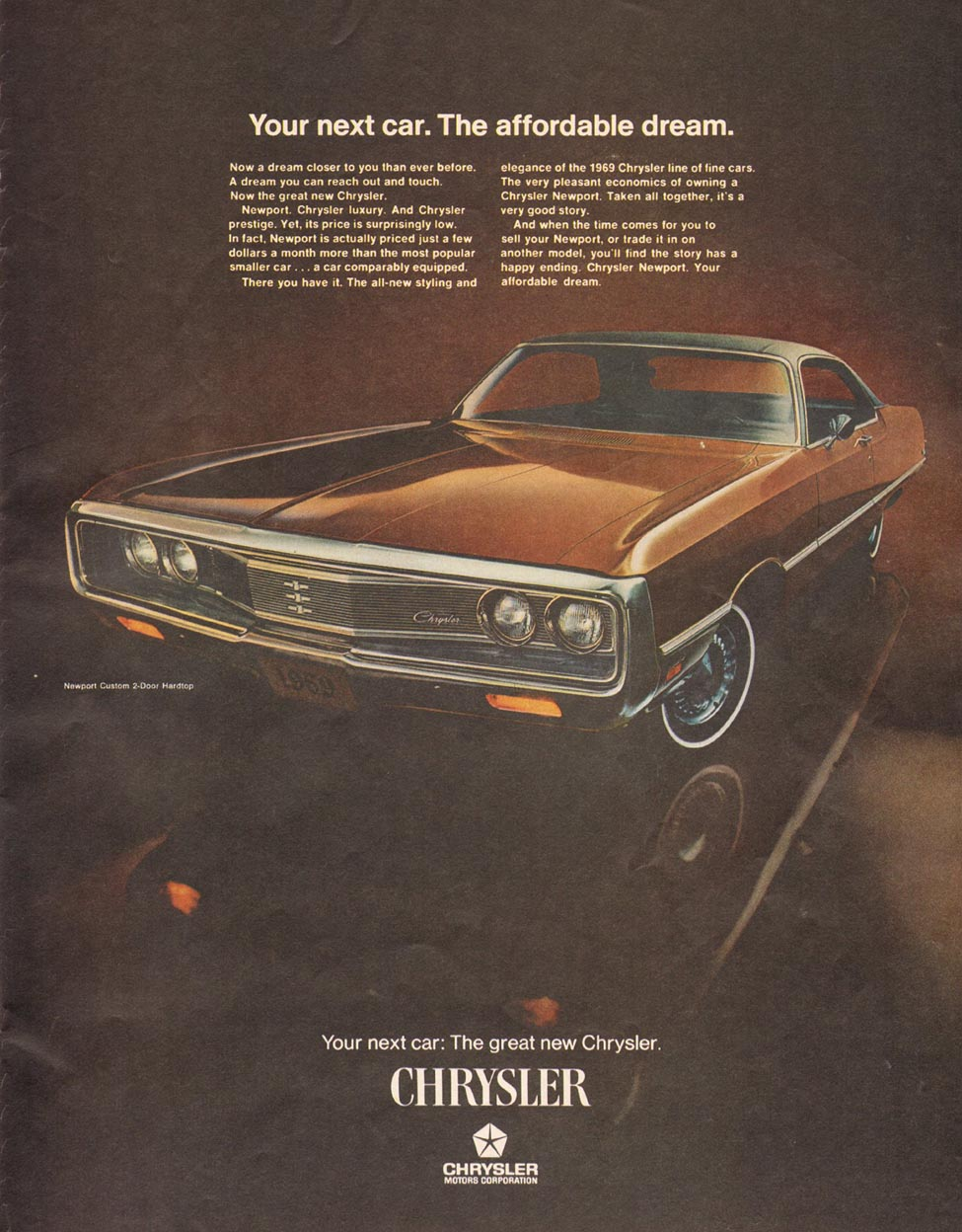 CHRYSLER AUTOMOBILES SATURDAY EVENING POST 01/25/1969 p. 57