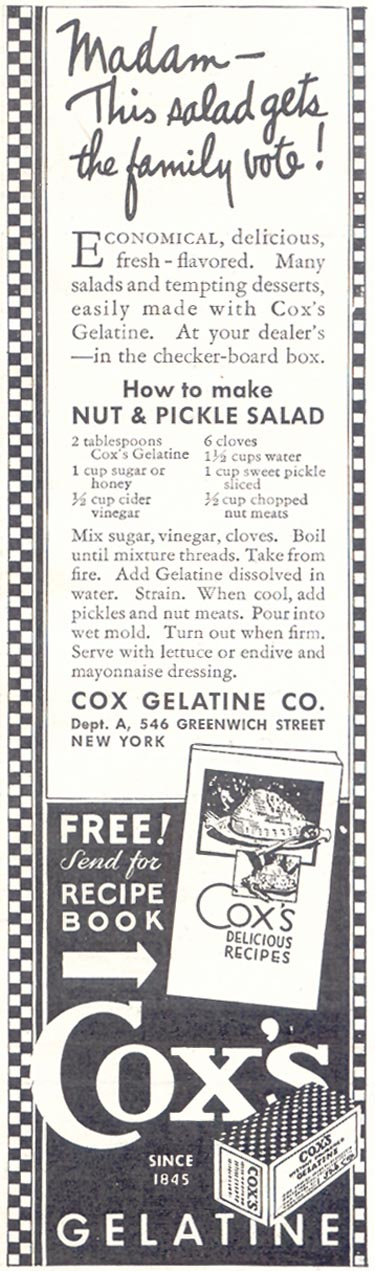 COX'S GELATINE GOOD HOUSEKEEPING 11/01/1933 p. 216