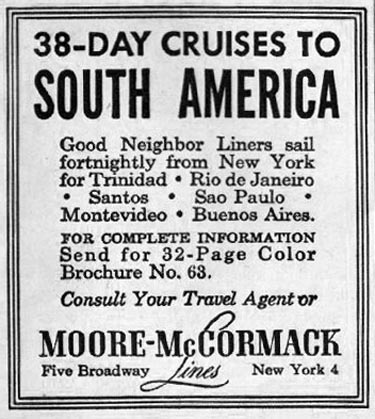 SOUTH AMERICAN CRUISES WOMAN'S HOME COMPANION 12/01/1952 p. 104