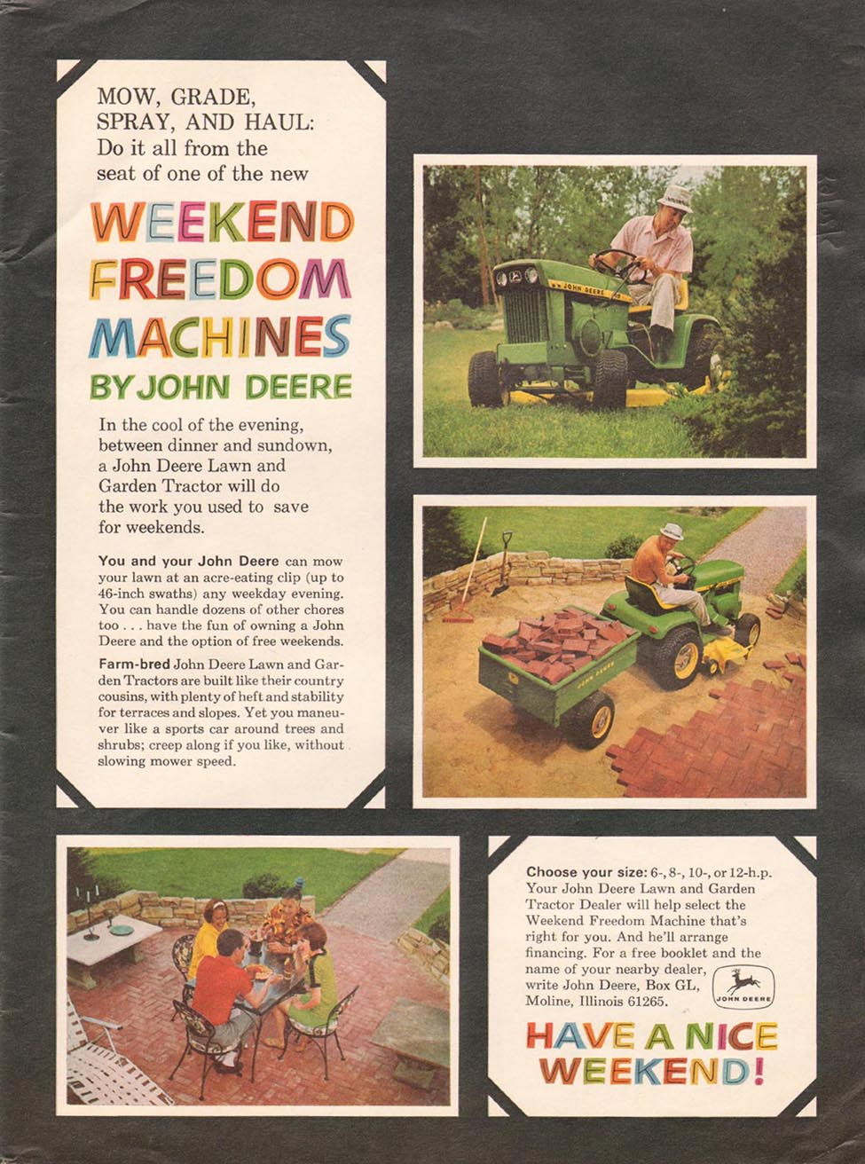 JOHN DEERE LAWN AND GARDEN TRACTOR NEWSWEEK 05/20/1968