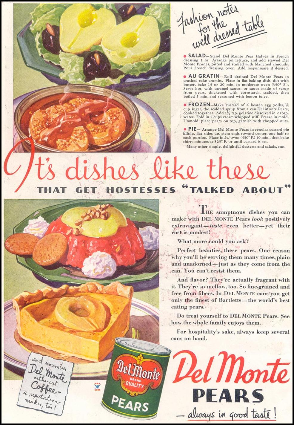 DEL MONTE PEARS GOOD HOUSEKEEPING 03/01/1935