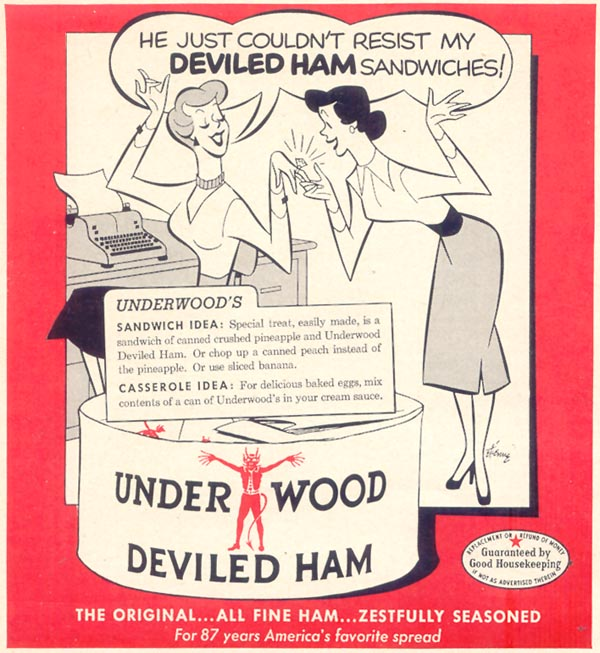 UNDERWOOD DEVILED HAM WOMAN'S DAY 03/01/1954 p. 158