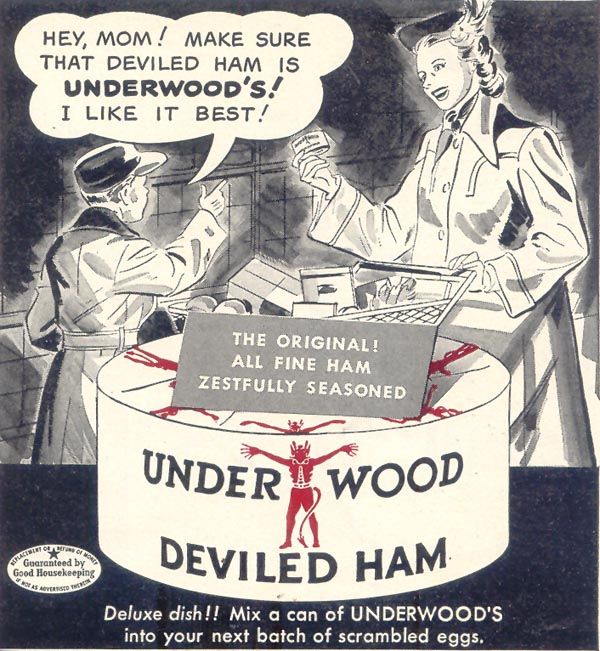 UNDERWOOD DEVILED HAM WOMAN'S DAY 05/01/1950 p. 127