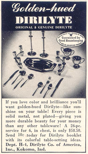 DIRILYTE TABLEWARE GOOD HOUSEKEEPING 07/01/1949 p. 201