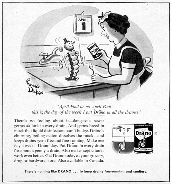 DRANO DRAIN CLEANER WOMAN'S DAY 03/01/1954 p. 146