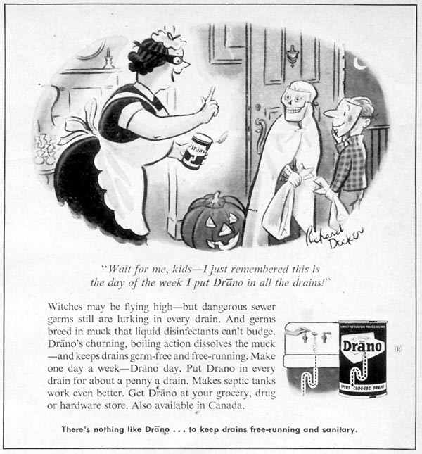 DRANO DRAIN CLEANER WOMAN'S DAY 10/01/1954 p. 167