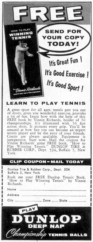 DUNLOP DEEP NAP CHAMPIONSHIP TENNIS BALLS SATURDAY EVENING POST 06/04/1955 p. 100