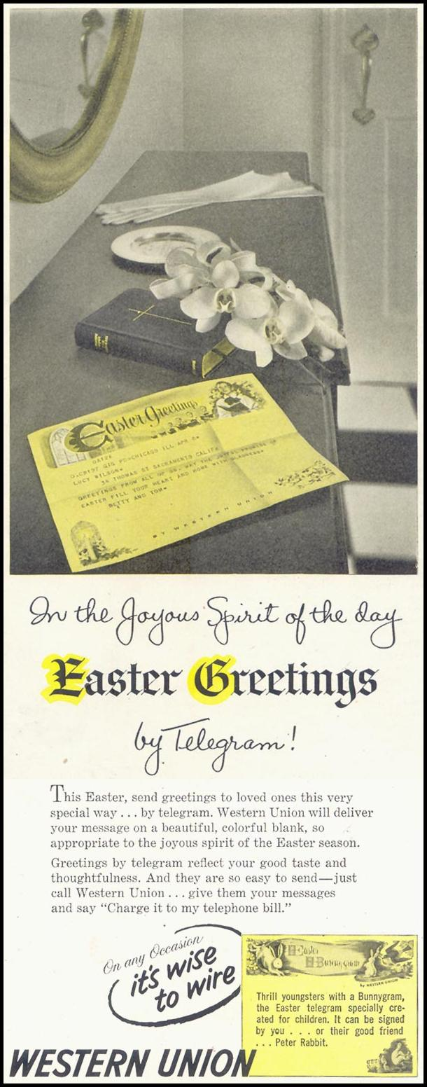 WESTERN UNION TELEGRAM SATURDAY EVENING POST 04/09/1955 p. 113