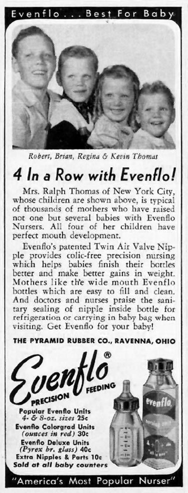 EVENFLO BABY NURSER LADIES' HOME JOURNAL 03/01/1954 p. 184