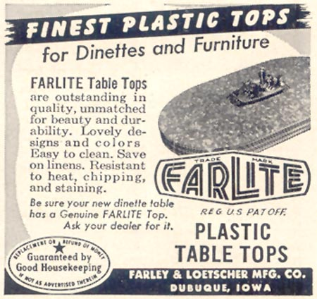 FARLITE PLASTIC TABLE TOPS GOOD HOUSEKEEPING 07/01/1949 p. 187