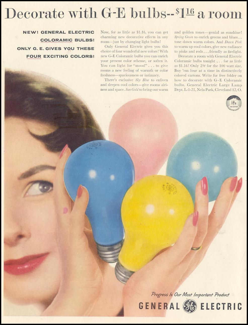 GENERAL ELECTRIC COLORAMIC LIGHT BULBS LIFE 01/21/1957 INSIDE FRONT