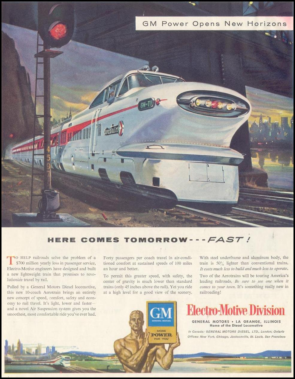 GENERAL MOTORS DIESEL LOCOMOTIVES SATURDAY EVENING POST 12/10/1955 p. 89