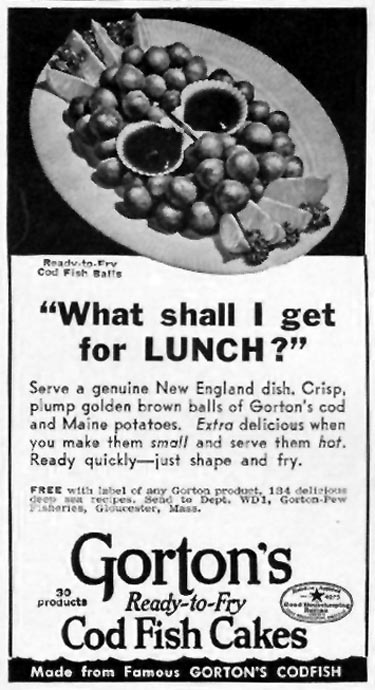 GORTON'S READY-TO-FRY COD FISH CAKES WOMAN'S DAY 01/01/1941 p. 2