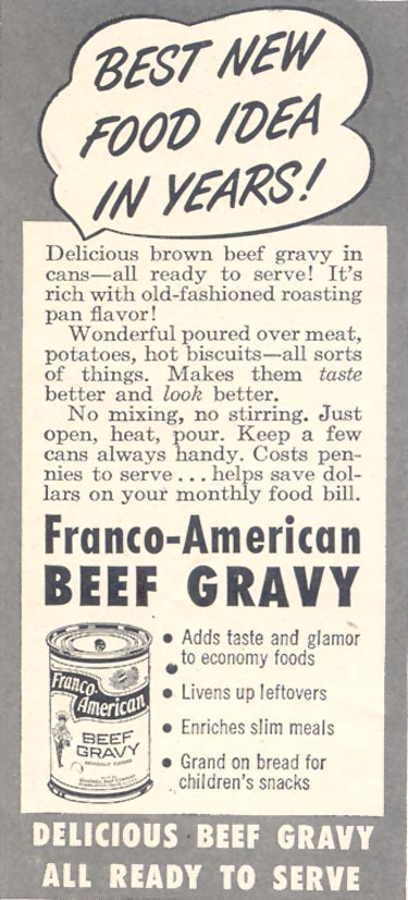 FRANCO-AMERICAN BEEF GRAVY GOOD HOUSEKEEPING 07/01/1949 p. 157