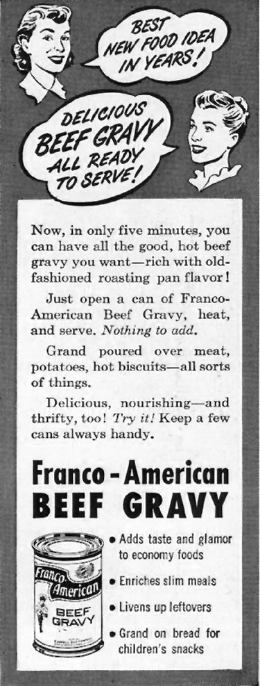 FRANCO-AMERICAN BEEF GRAVY LADIES' HOME JOURNAL 07/01/1949 p. 18