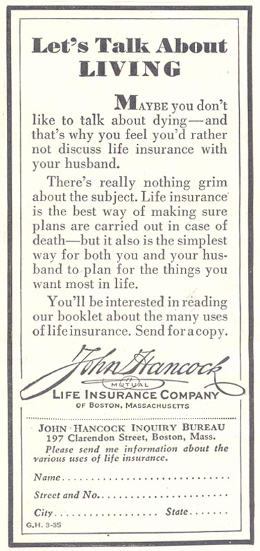 LIFE INSURANCE GOOD HOUSEKEEPING 03/01/1935 p. 194