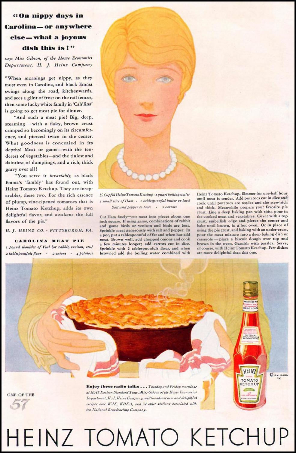 HEINZ KETCHUP BETTER HOMES AND GARDENS 10/01/1930 p. 47