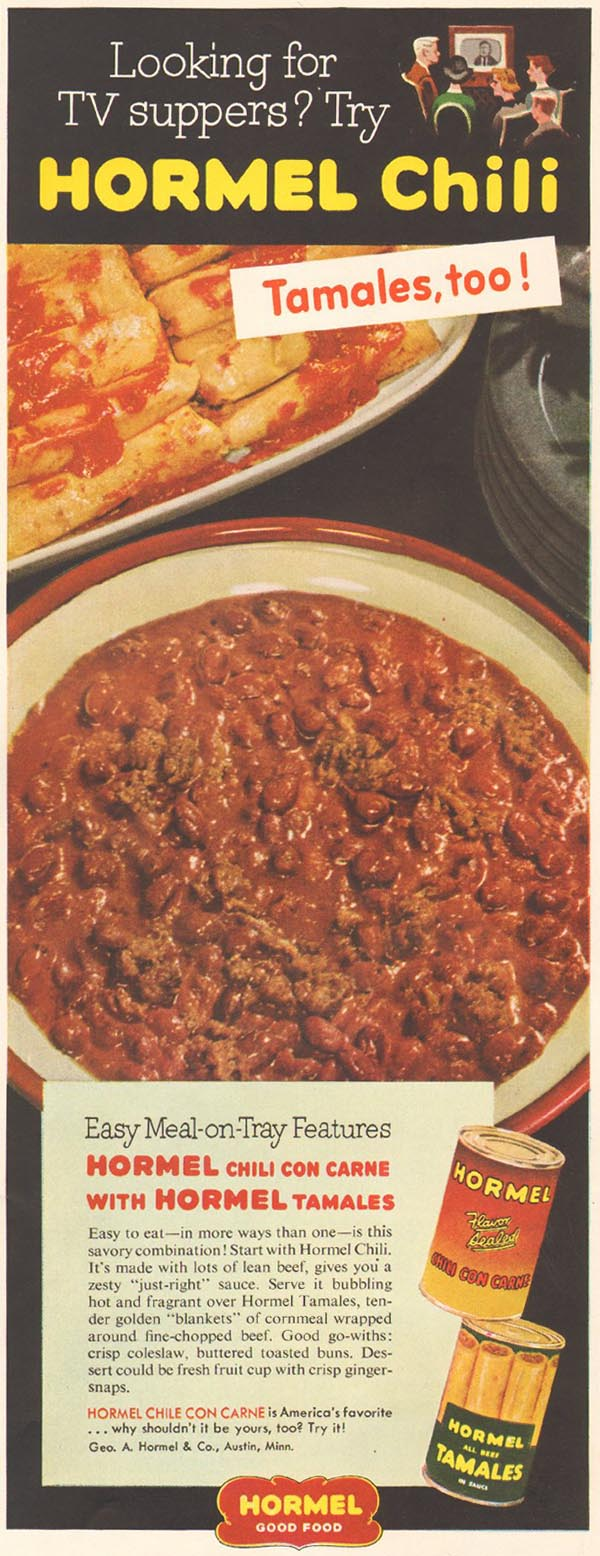 HORMEL CANNED CHILI AND TAMALES LADIES' HOME JOURNAL 03/01/1954 p. 183