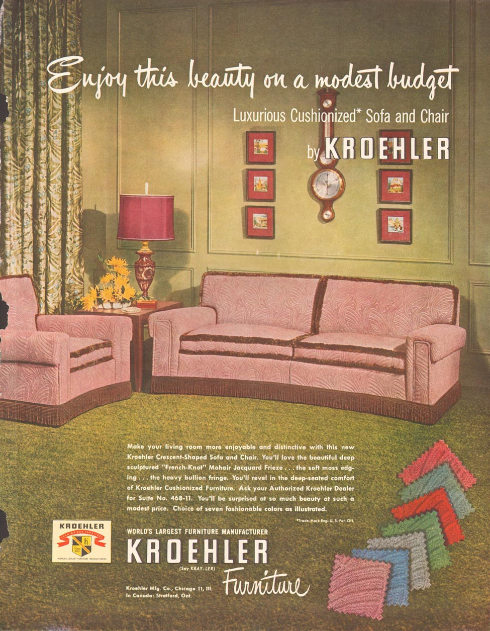 KROEHLER FURNITURE LADIES' HOME JOURNAL 11/01/1950 p. 15