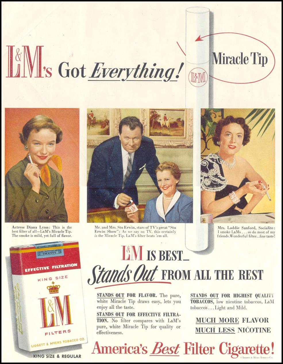 L & M CIGARETTES SATURDAY EVENING POST 01/08/1955 INSIDE FRONT