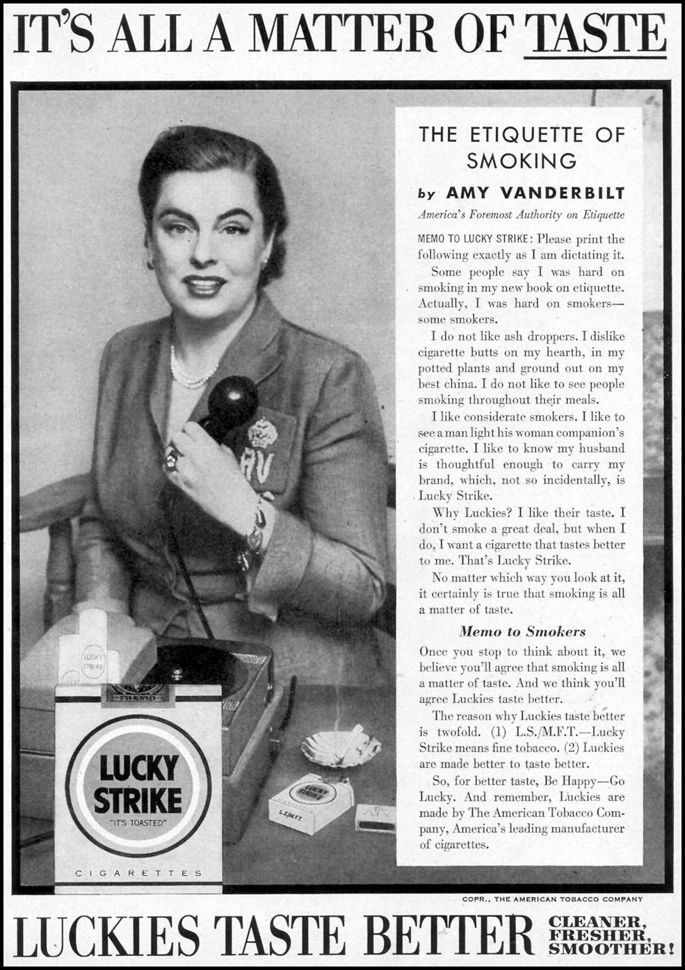 LUCKY STRIKE CIGARETTES WOMAN'S DAY 03/01/1954 p. 113