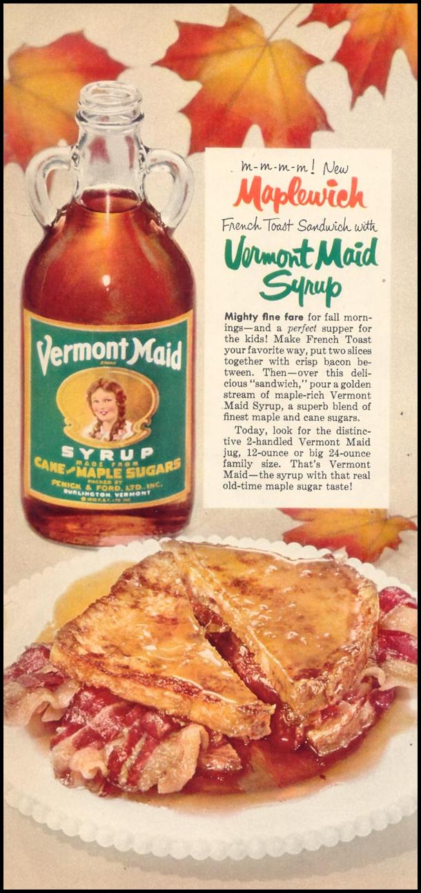 VERMONT MAID SYRUP WOMAN'S DAY 10/01/1954 p. 54