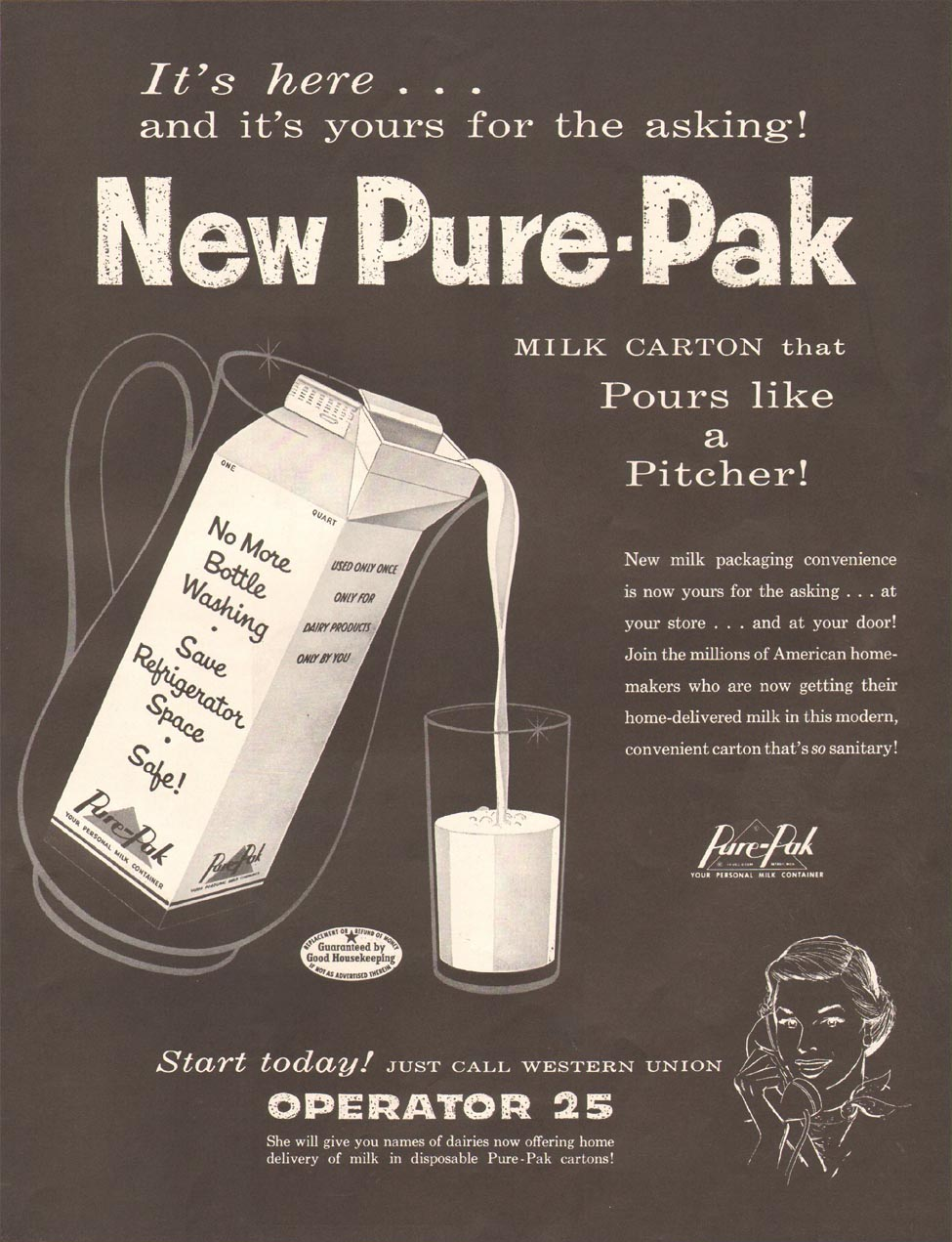 PURE-PAK MILK CARTON LADIES' HOME JOURNAL 03/01/1954 p. 123