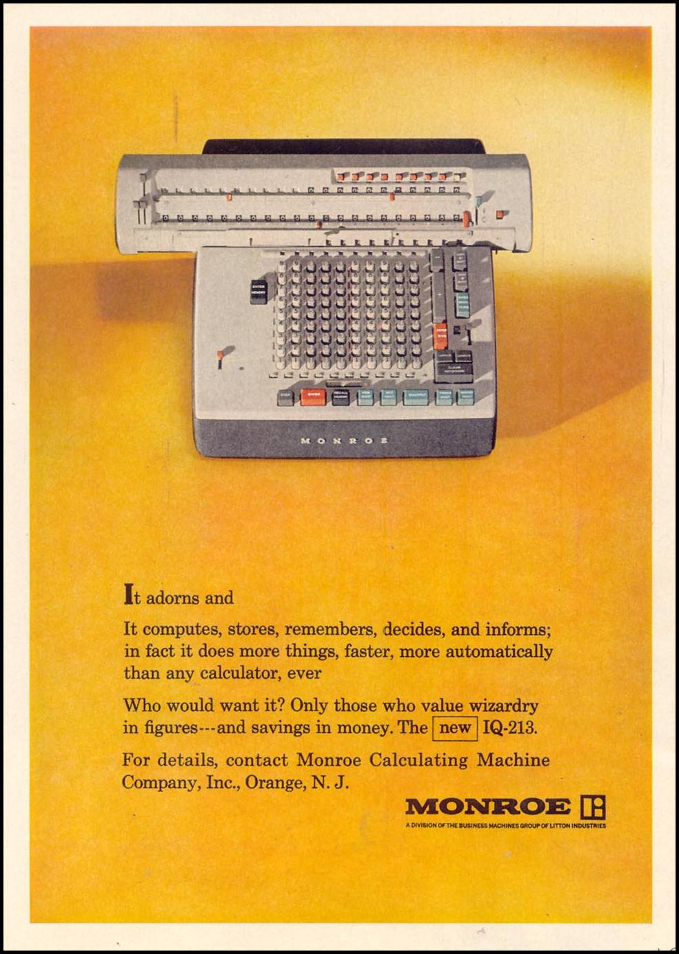 MONROE CALCULATING MACHINES TIME 10/25/1963 p. 43