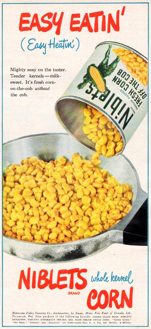 NIBLETS BRAND WHOLE KERNEL CORN WOMAN'S DAY 01/01/1949 p. 59