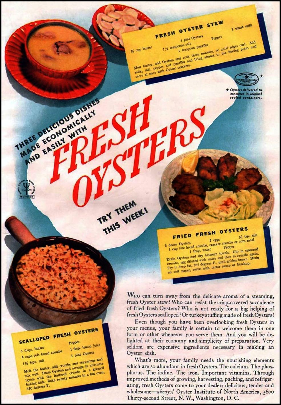 FRESH OYSTERS GOOD HOUSEKEEPING 12/01/1935 p. 159