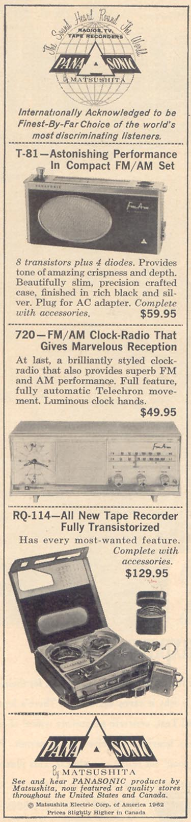 PANASONIC ELECTRONIC EQUIPMENT TIME 12/07/1962 p. 54