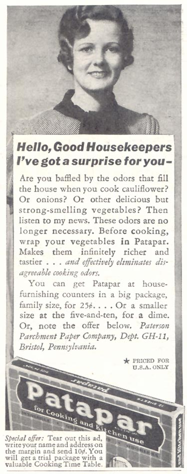 PATAPAR PARCHMENT PAPER GOOD HOUSEKEEPING 11/01/1933 p. 208