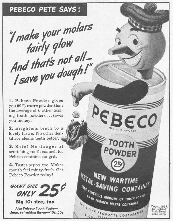 PEBECO TOOTH POWDER LIFE 10/25/1943 p. 114