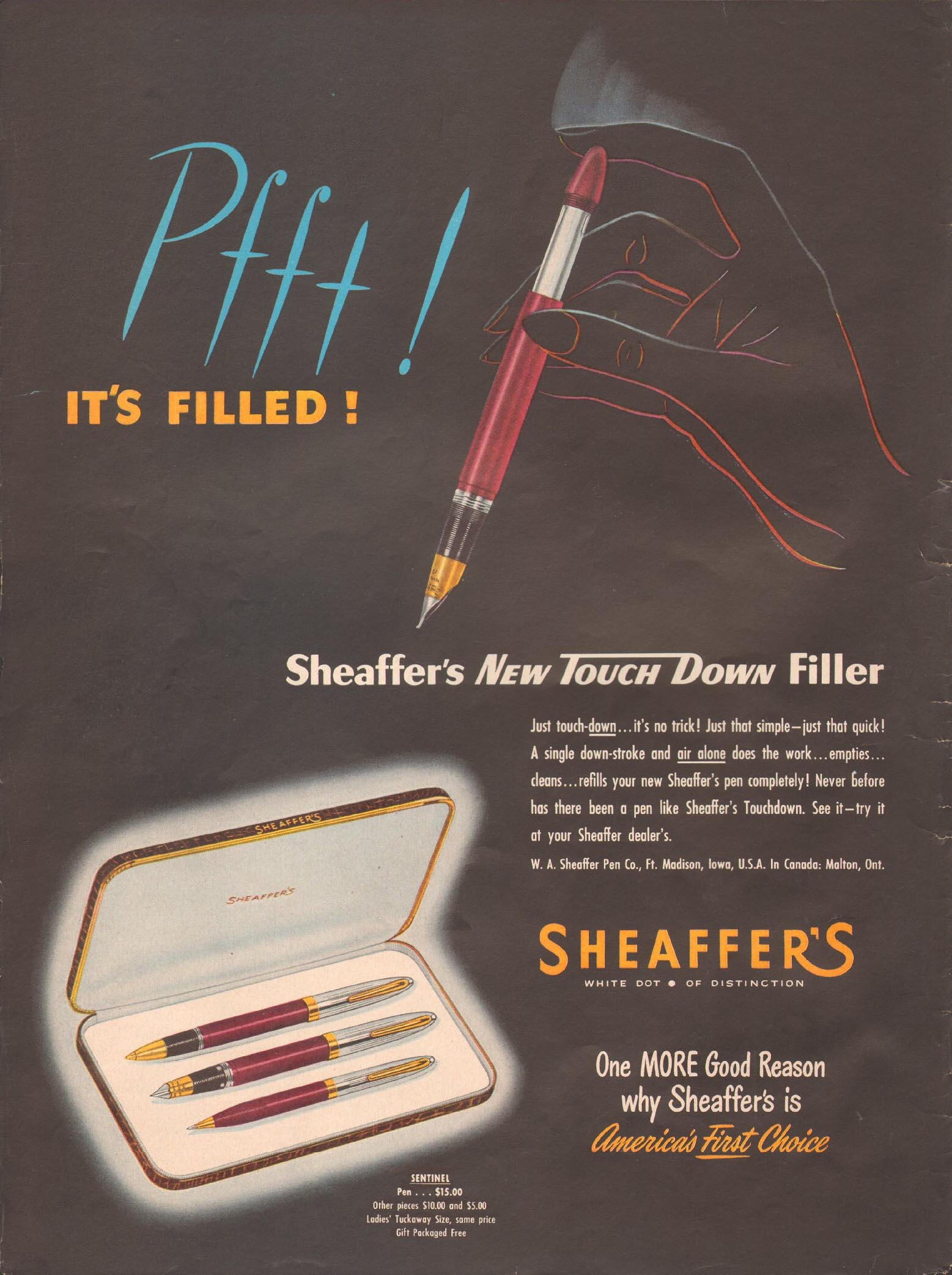 SHEAFFER'S NEW TOUCHDOWN FILLER LIFE 04/17/1950