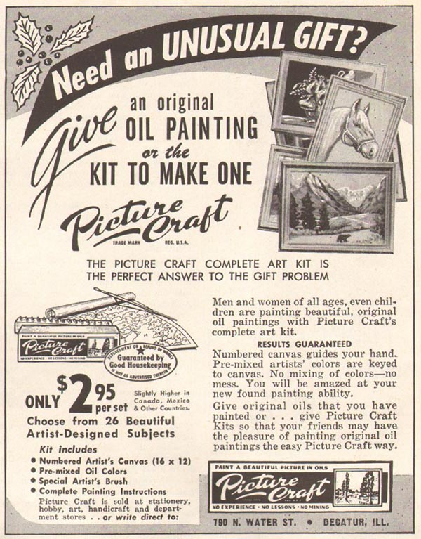 PICTURE CRAFT PAINT-BY-NUMBERS KIT WOMAN'S HOME COMPANION 12/01/1952 p. 123